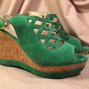 Franco Sarto cork and leather wedge shoes